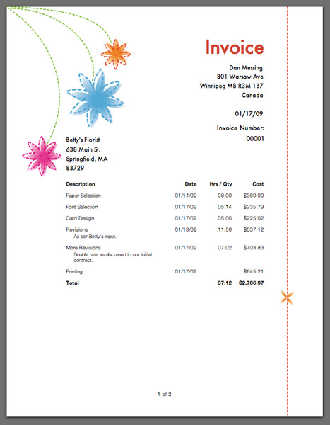 flower invoice template .